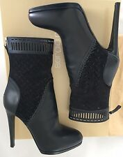 Sergio Rossi Black Leather/Suede Cutout Boots 7 US/37 EU $1350 Sexy Booties