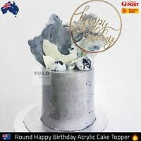 Round Happy Birthday Gold Acrylic Cake Topper Premium Latest Trend from Mel