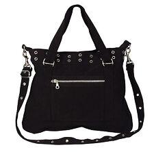 Women's Black Vintage 'Pistol Belt' Bag - Silver Grommets - Gothic Purse