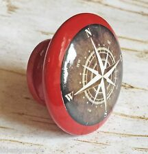 "4 Handmade Compass Birch Wood Knob Pulls, 1.5"" Tuscan Red Painted Drawer Knobs"