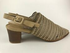 Vintage 90s Guess Taupe Mesh Weave Slingback Mules Womens Shoes Block Heel 7 1/2