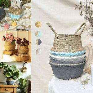 2 Size Foldable Seagrass Woven Pot Plant Storage Home Flower Vase Hanging Basket