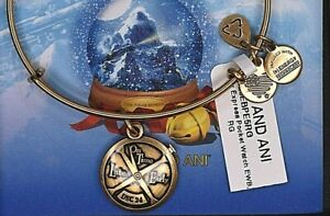 NEW NWT Alex and Ani Polar Express Pocket Watch Gold Bracelet Card & Box
