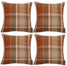 McAlister Textiles Heritage Tartan Check Terracotta Orange Cushion Set of 2 & 4