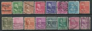 United States USA 1938 Presidential Series x 16 Good Used Stamps