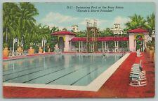 Boca Raton Florida~Swimming Pool At Secret Paradise~Vintage Postcard