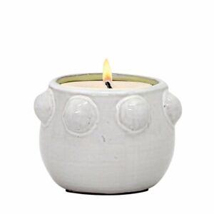 MONDIAL CANDLES: Fem Rosa Design Ceramic Container Candle WHITE