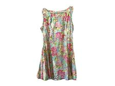 Sunny Girl Floral Cotton Dress Size 14 Fit And Flare Retro Style Swing dress GUC