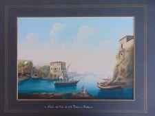 NAPOLI - LA VILLA  DE CONTE FIRMIAN, A POSILLIPO GOUACHE ORIGINALE 34,5x24,5 CM