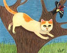 CAT in TREE  Folk Art Print - Cat and Bird -Artist sgd Wendy Presseisen