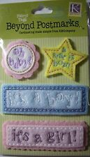 NEW 4 pc BEYOND POSTMARKS BABY Oh Baby! Boy Girl  Fabric Tags K & CO 3D Stickers