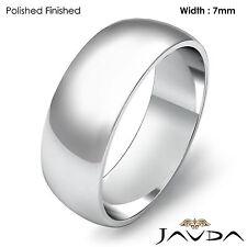 7mm 14k Gold White Men's Wedding Band High Polished Dome Plain Ring 6.6gm 8-8.75