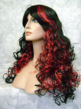 COS20 - Long Super Curly Black & Red Full Synthetic Costume Party Wig Wigs