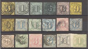 Altdeutschland 1852/66, Thurn und Taxis, aus Mi 6 bis 52, hoher KW