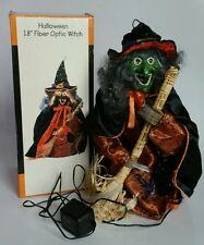 "Halloween 18"" Fiber Optic Witch Lighted Scary Decoration w/ Broom& Box JC Penney"