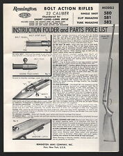 Remington Model 580 Bolt Action Rifle Instruction Folder and Parts Price List