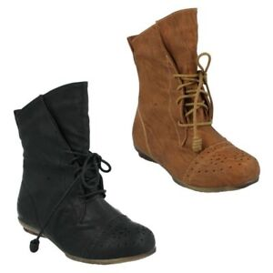 H4R074 GIRLS CUTIE FLAT BLACK TAN LACE UP CASUAL MID CALF ROUND TOE WINTER BOOTS