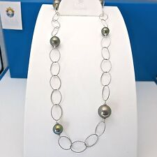 """Authentic JOIA De Majorca Black Pearl Necklace With Oval Link Chain, 36"""""""