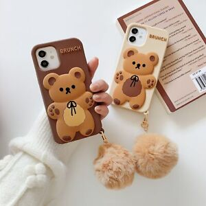 Cute Cartoon Phone Case+Fur Ball Soft Silicone Cover for iPhone12 Pro/11/XR/XS/8