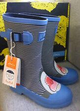 Joules Junior Welly Print Blue Stripe Shark Wellingtons Wellies Boys Child Sz 2