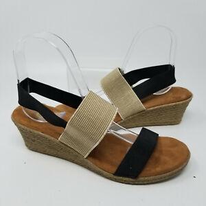 Black Brown Slingback Espadrilles Wedge Heel Slip On Sandal Slide Women Size 8 M