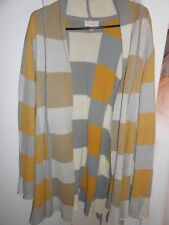 MOD CLOTH BELTED SWEATER COTTON SZ 3X PLUS YELLOW GRAY WHITE BROWN PATCHWORK