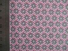 Reststück 1,7m Baumwollstoff graue Blümchen auf rosa
