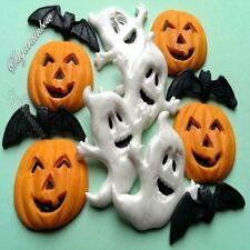 12 EDIBLE SUGAR HALLOWEEN DECORATIONS BATS PUMPKINS GHOSTS CAKE CUPCAKE TOPPERS
