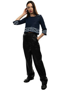 RRP €155 MAJE Jumper Size 1 / S Patterned Flared 3/4 Sleeve Cropped