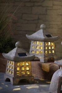2 Garden Solar Pagoda Tower Lantern Oriental Ornament Statue Decor Japanese Grey