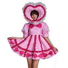 Crossdressing Boy Adult Baby Sissy Lockable Maid PVC Pink Dress Uniform Male
