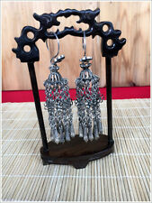 silver big tassels earring 1pair Personalty exotic tribal retro handmade miao
