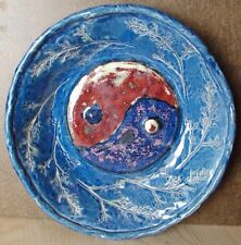 Hand Thrown Pottery Large Bowl.  Beautiful Blue and Red. Yin and Yang. Signed.