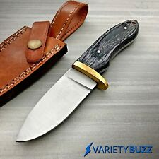 Wood Hunting Survival Skinning Fixed Blade Knife Full Tang + Leather Sheath -NEW