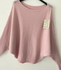 New Made In Italy Ribbed Soft Loose Batwing Lagenlook Top Jumper One Size 10-16