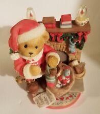 """Teddy Bear Figurine Sanford / Santa P. Hillman appx. 4"""" T x 3""""W x 3"""" L Vg"""