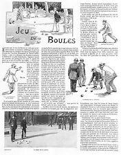 LE JEU DE BOULES PETANQUE ARTICLE PRESSE DE PAUL FIELD 1899