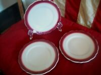 "Vtg Lot of THREE Syracuse China  6 1/2"" Bread Plates~ White w/ Maroon  Trim"