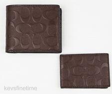 New Coach Men Compact ID Wallet Mahogany Signature Crossgrain Leather F75371