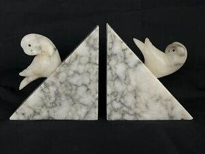 """Pair Of Vintage Marble Cockatoos Bookends White & Black Birds Hand Carved 5in"""""""