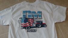 DYKSTRA MACHINERY DM FARM TRACTOR & AMERICAN FLAG MENS T-SHIRT DRY BLEND NEW LG