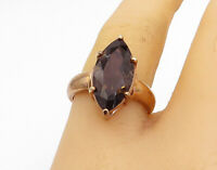 925 Sterling Silver - Smoky Quartz Gold Plated Cocktail Ring Sz 8 - R16855