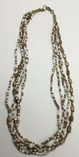Brand New Bronze & White Beaded Fashion Jewellery Multiple Necklace