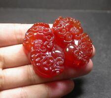 CHINESE Red AGATE JADE PENDANT Pair 风水 Feng Shiu  Dragon Pi xiu Feng Shui 248309