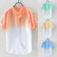 Men's Summer Linen Cotton Short Sleeve Casual Tropical Hawaiian Shirt T-shirt GI