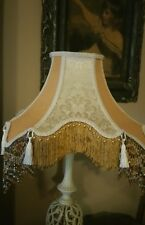 "Victorian French Large Table Lamp Shade Gold ""Elegance"" Beads Fringe Tassels"