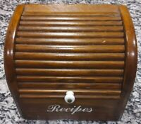 Vintage Wooden Recipe Box Hinged Cedar Full of recipes.