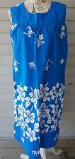 Vintage Ui-Maikai Hawaiian Muu Muu Dress Women's L-XL Blue White Hibiscus
