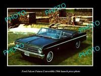 OLD LARGE HISTORIC PHOTO OF 1966 FORD FALCON FUTURA C/V LAUNCH PRESS PHOTO