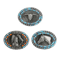 Western Cowboy Rodeo Oval Strap Buckle Mens Womens Engraved Belt Buckle